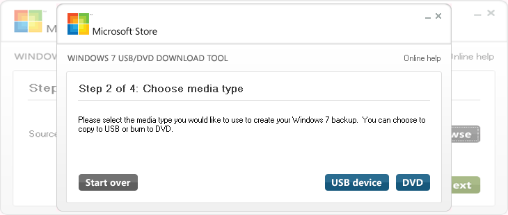 выбор места установки образа в Microsoft Windows 7 USB/DVD Download Tool